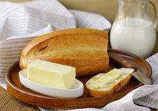 Butter,  loaf of white bread and milk Stock Images