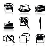 Butter or margarine vector icons set Royalty Free Stock Image