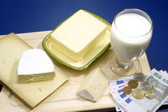 Butter and Milk Stock Photo