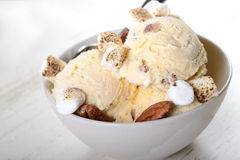 Butter Pecan Ice Cream with toasted pecans and marshmallows Stock Images
