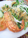 Butter prawn. A plate of tasty butter prawn served at famous restaurant Stock Images