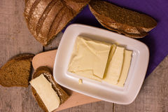 Butter and rye bread Royalty Free Stock Photos