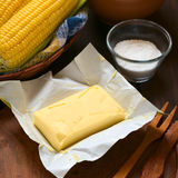 Butter with Salt and Cooked Corn Royalty Free Stock Images