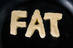 Butter in shape of the word fat on hot pan - Close up top view Royalty Free Stock Photo