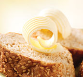 Butter on a Slice of Bread. Butter Rolls. Healthy Breakfast Royalty Free Stock Image