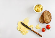 Butter spread or margarine background. Butter, spread or margarine product background with a space for a text, flat lay, view from above Stock Photo