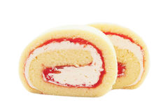 Butter swiss roll cake with cream and yam Royalty Free Stock Photography