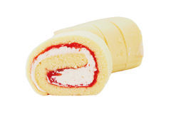 Butter swiss roll cake with cream and yam Stock Images
