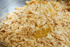 Butter to mix with cracker crust. Fill the butter to mix with cracker crust : preparation of dessert Stock Photo