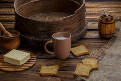 Butter toast, honey and milk on wood backgraund. Stock Image