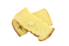 Butter toasted bread isolated. Royalty Free Stock Images