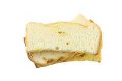 Butter toasted bread isolated. Royalty Free Stock Image