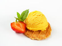 Butter waffle cookie with ice cream Royalty Free Stock Images