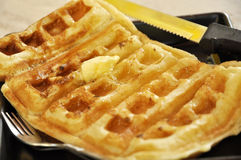 Butter Waffle Dish Breakfast Set Royalty Free Stock Images