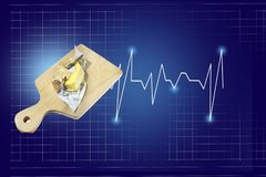 Butter on a wooden board with a heart beat rate chart info and healthcare report, isolated on blue background with checkered lines. Butter on a wooden cutting stock photo