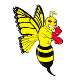 Butterbee. Illustration of a butterfly mixed boxing bee in an angry fighter stance Stock Photo