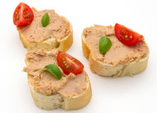 Butterbrot com pasta Imagens de Stock Royalty Free