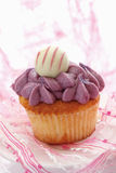 Buttercream黑醋栗杯形蛋糕用块菌状巧克力 库存图片
