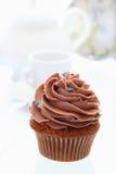 Buttercream chocolate cupcake white background Stock Photography