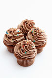 Buttercream chocolate cupcakes against white backgrou Stock Image