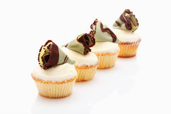 Buttercream cupcake with chocolate fan Royalty Free Stock Photography