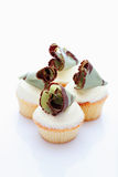 Buttercream cupcakes with chocolate fan Royalty Free Stock Photo
