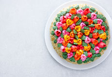 Buttercream flower tulip cake , beautiful festive cake decorated Royalty Free Stock Photography
