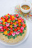 Buttercream flower tulip cake , beautiful festive cake decorated Royalty Free Stock Photos