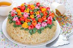 Buttercream flower tulip cake , beautiful festive cake decorated Royalty Free Stock Images