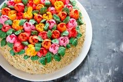 Buttercream flower tulip cake , beautiful festive cake decorated Royalty Free Stock Image