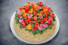 Buttercream flower tulip cake , beautiful festive cake decorated Stock Photography