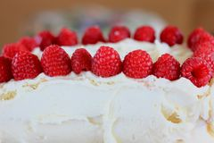 Buttercream frosting cake and Raspberries Stock Photography
