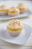 Buttercream Vanilla Cupcakes Royalty Free Stock Images