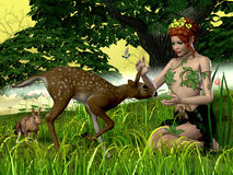 Buttercup Fairy and Forest Friends Stock Image
