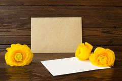 Buttercups flowers and white paper Royalty Free Stock Photography