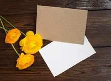 Buttercups flowers and white paper Stock Photos