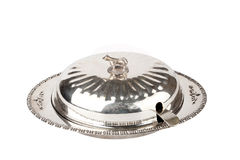 Butterdish. Silver plated vintage butterdish on a white background Stock Photography