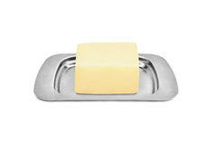 Butterdish with butter Royalty Free Stock Image