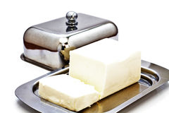Butterdish with butter. Royalty Free Stock Image