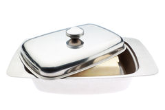 Butterdish closeup. Butterdish close up. On a white background Royalty Free Stock Image