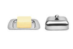 Butterdish mit Butter Stockfotografie