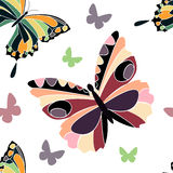 Butterdlys. Butterfly simple seamless pattern in color Stock Image