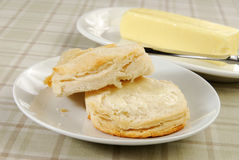 Buttered biscuit Stock Photo