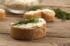 Buttered bread with dill Royalty Free Stock Image