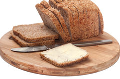 BUTTERED CEREALS BREAD HEALTHY Royalty Free Stock Photos