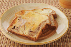 Buttered cinnamon toast. A plate of buttered cinnamon toast with coffee Stock Images