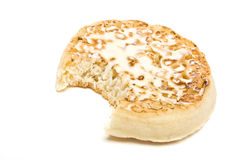 Buttered Crumpet. Traditional English Hot Buttered Crumpet with melting butter Royalty Free Stock Photo