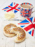Buttered English crumpets with cup of tea Royalty Free Stock Images