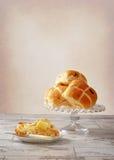 Buttered Hot Cross Bun Stock Image
