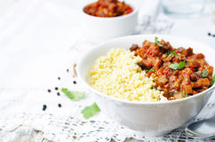 Buttered millet with tomato eggplant curry Royalty Free Stock Photo